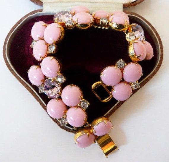 Hobe sugar pink glass cab bracelet, pink Austrian