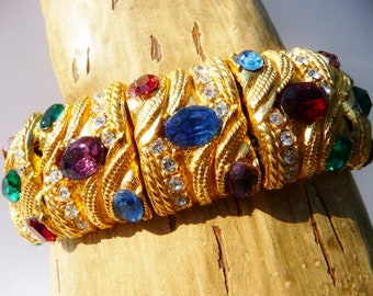 mughal style bejeweled panel bracelet, jewels of India, rhinestone cabs, gold tone, 1950s 1960s, unsigned vintage
