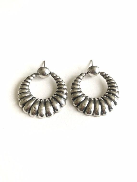 Vintage sterling silver fluted hoop earrings