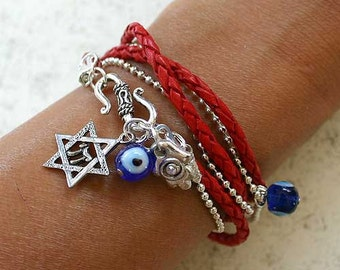 Evil Eye Protection Bracelet Red Leather Chain Star Of David Hamsa Jewish Charms