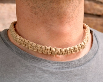 Hemp Necklace Surfer Double Thick Square Knot Braid Choker