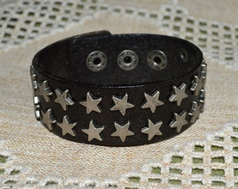 Urban Button Bracelet Black Leather and Steel Star Spikes Wide Leather Cuff Men Women