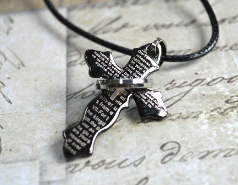 Black Titanium Cross Leather Necklace Stainless Steel Prayer image 0