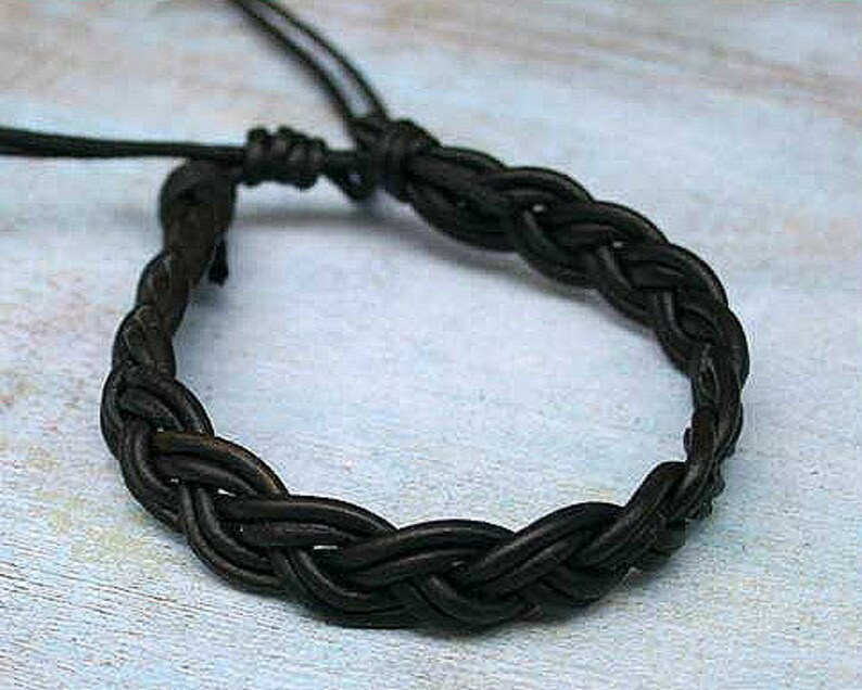Black Leather Mens Bracelet Surfer Braided Style image 0