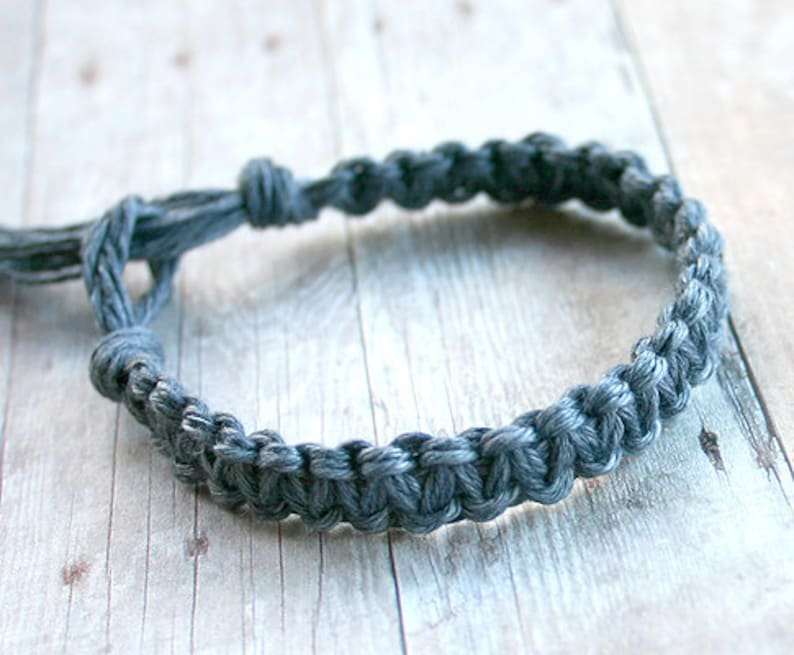 Surfer Macrame Hemp Bracelet Steel Gray Woven Knot Friendship image 0