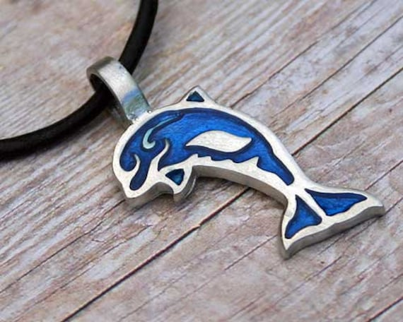 DOLPHIN Silver Pewter Pendant Leather Necklace Surfer