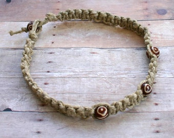 Surfer Phatty Thick Hemp Necklace With Bone Bead Choker