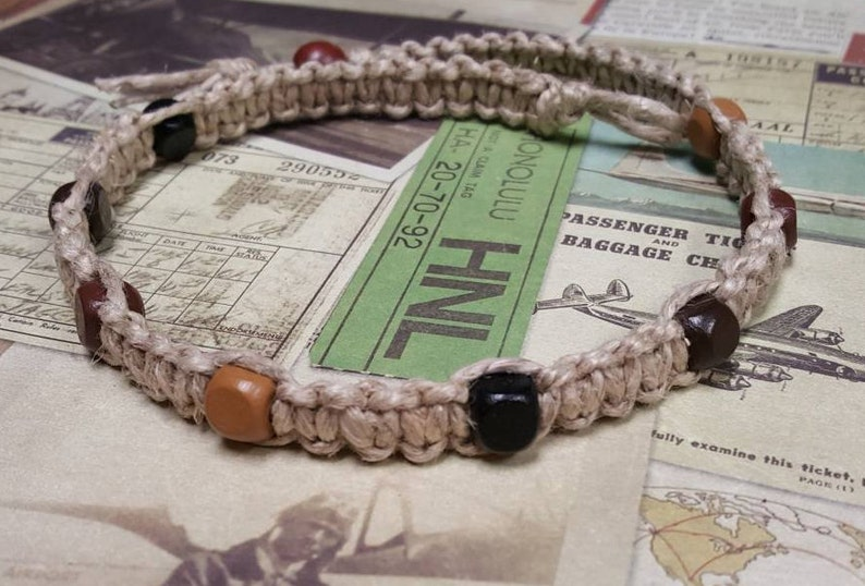 Surfer Phatty Thick Hemp Necklace With Square Wood Beads image 0