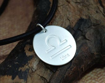 Leather Surfer Necklace With Ancient Zodiac LIBRA Distresed Cord