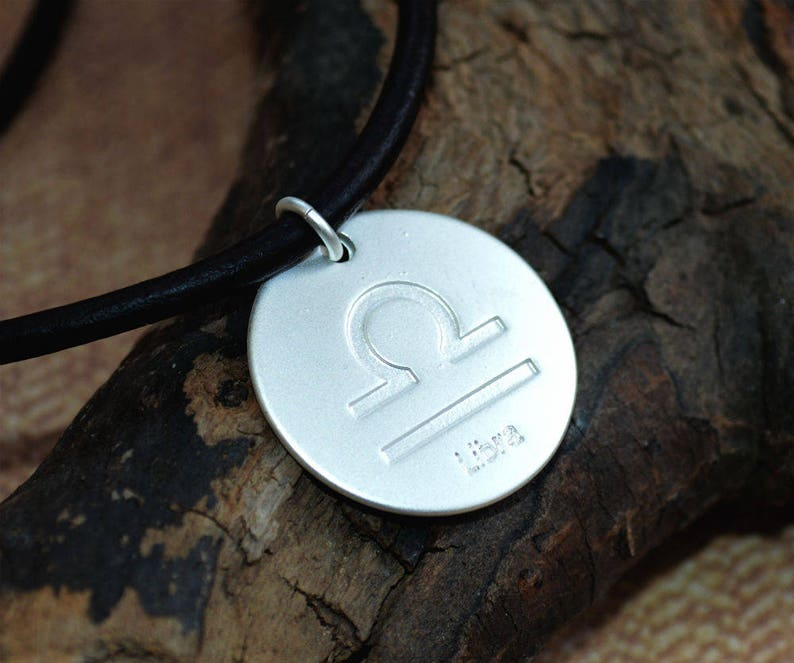 Leather Surfer Necklace With Ancient Zodiac LIBRA Distresed image 0