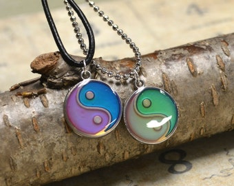 Mood Leather Ball Chain Surfer Necklace, Color Changing Necklace, Hippie Jewelry Yin Yang