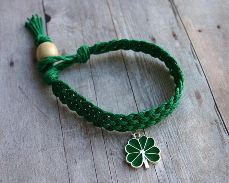 St Patrick's Day Woven Green Hemp Bracelet With Green image 0