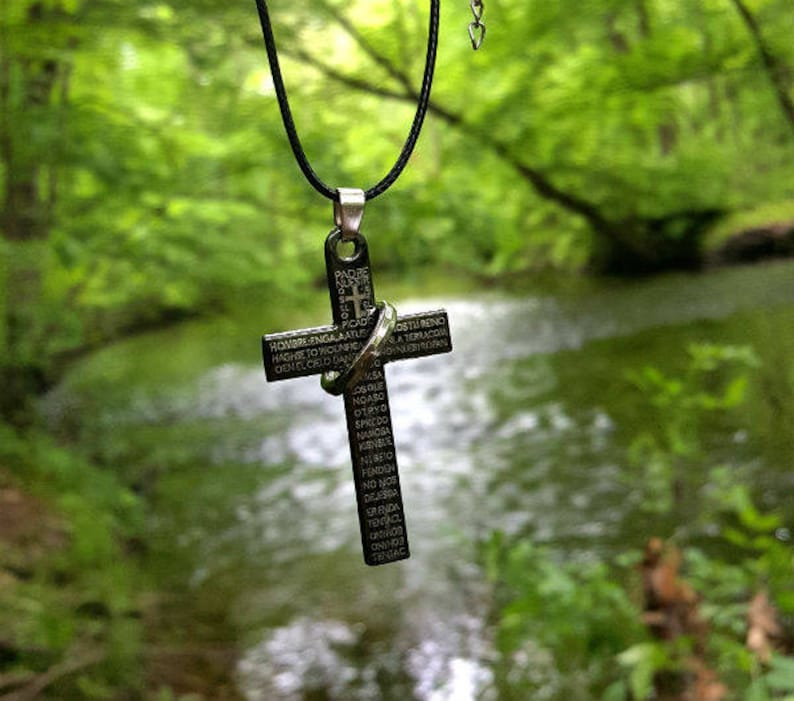 Black Titanium Cross Leather Necklace Stainless Steel Prayer image 0
