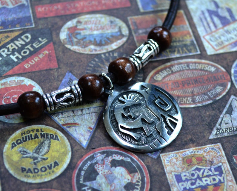 Kokopelli Leather Necklace Mens Necklace Mens Jewelry Mens image 0