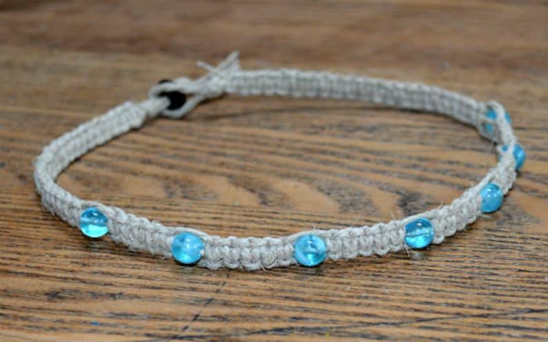Hemp Bracelet Glow in the Dark Aqua Blue Beach Jewelry image 0