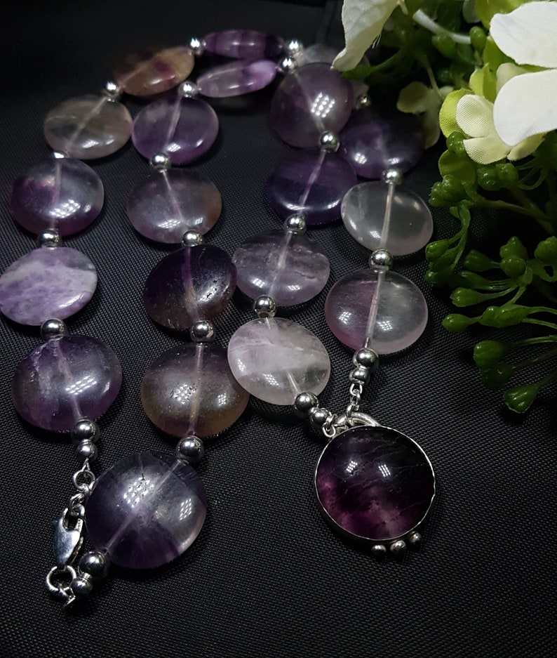 Hallmarked Purple fluorite cabochon pendant and necklace Sterling silver Healing Fluorite Gemstone necklace Coin beads