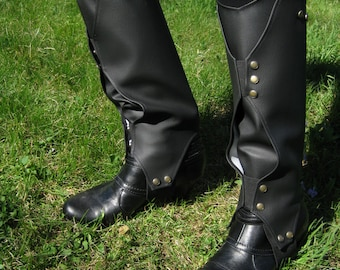 Loki Boot Covers - Faux Leather Gaiters - Boot Wraps - Spats - Fantasy - Black with Brushed Gold Snaps