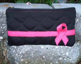Pink Ribbon Pouch Pink Ribbon pouchespouchespink ribbon walletbreastcancerawareness pink ribbon clutchcell phone pouch