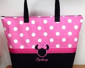 INSULATED Lunch Bag Pink and White Polka Dot Minnie Mouse Custom Made Embroidered Lunch Bag Purple and White Polka Dot