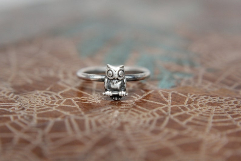 Dainty Little Perched Owl Stacking Ring. Wise Owl Stacking image 0