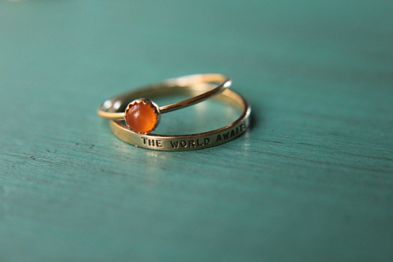 Stacking set 1 solid 14k gold gemstone band ring and 1 custom image 0