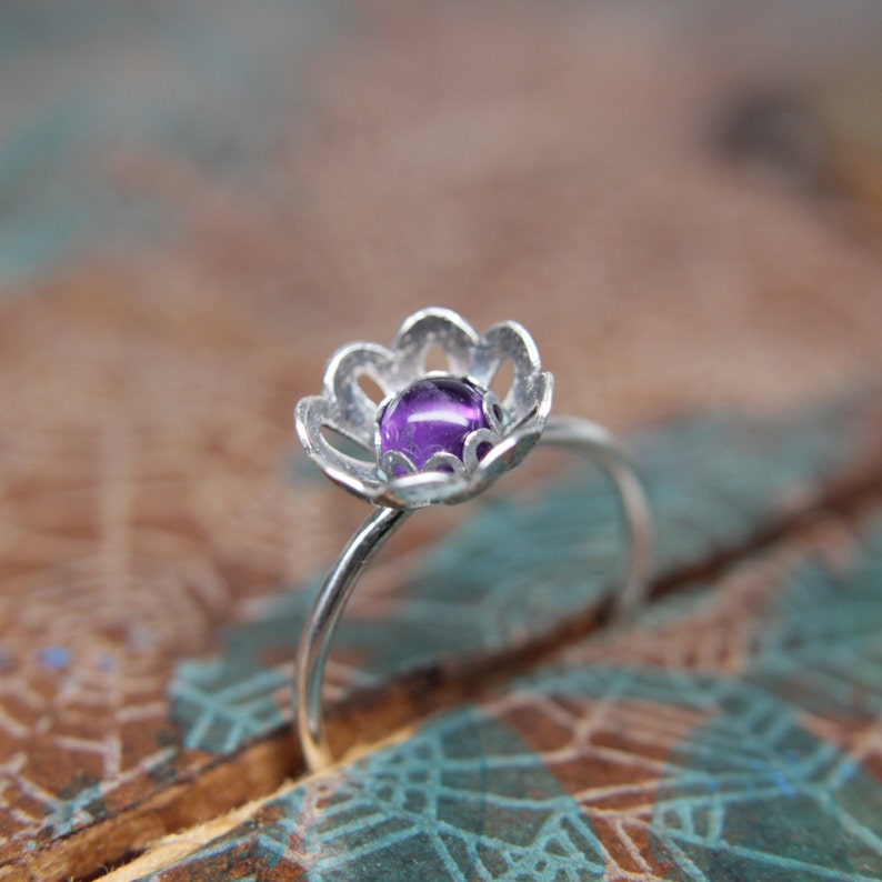 Blooming Flower Gemstone Stacking Ring. Pretty sterling silver image 0