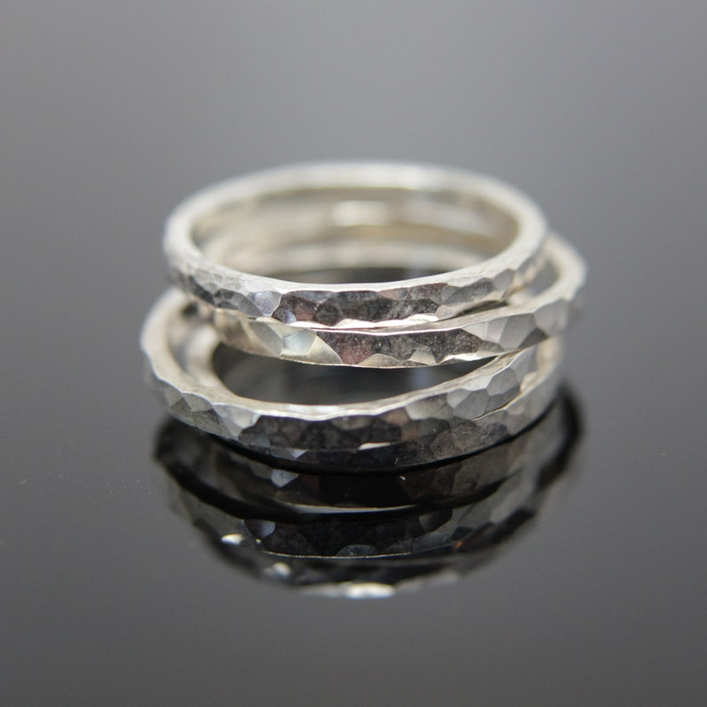 Square hammered texture band ring in Sterling Silver. Stacking image 0