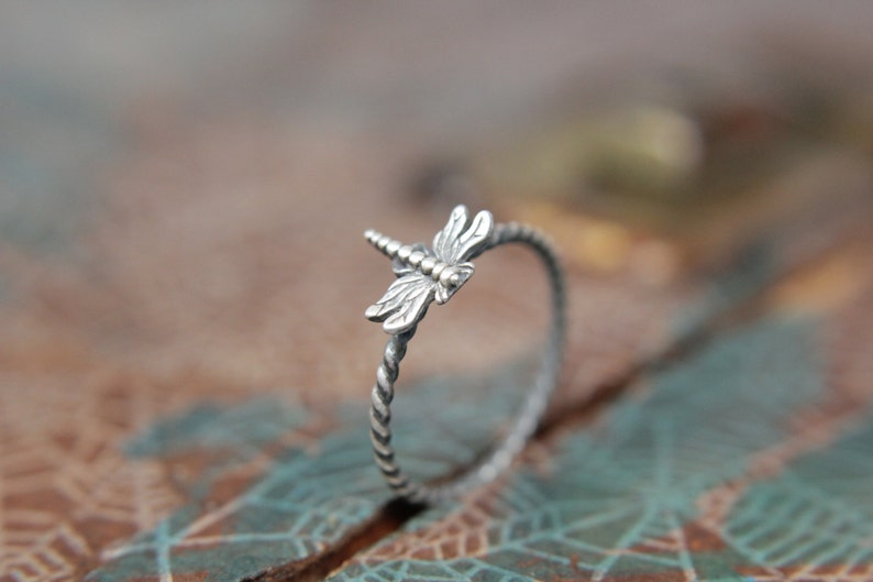 Delicate Little Dragonfly Stacking Ring. Sterling silver image 0