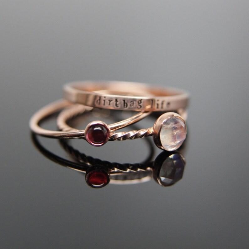 Three 14k rose gold gemstone stacking rings set. Custom band image 0