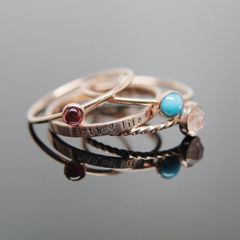 14k rose gold gemstone stacking rings set. Custom band set of image 0