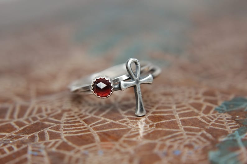 Ankh Key of Life Stacking Ring. Sterling silver Egyptian Ankh image 0