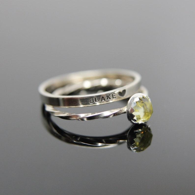 Choose your gemstone. Two 14k white gold gemstone stacking image 0