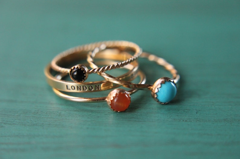 3 solid 14k gold gemstone stacking rings and custom band set image 0