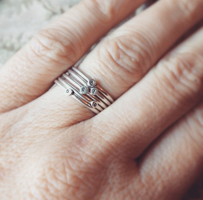 Sterling silver Little Dot Stacking Rings. One personalized image 0