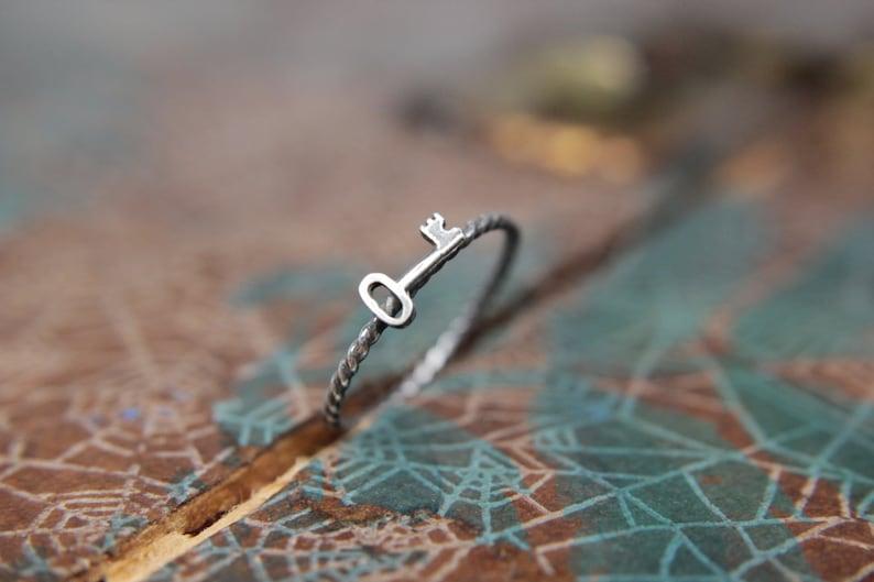 Darling Little Skeleton Key Stacking Ring. Romantic sterling image 0