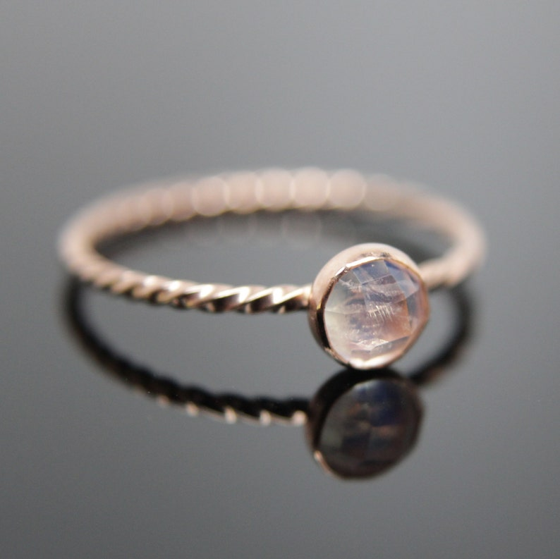 Choose your Gemstone. Single 14k rose gold stacking ring. Rose image 0