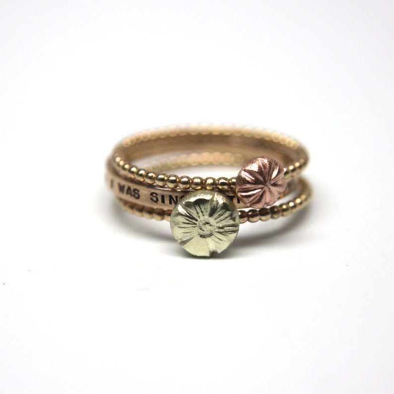 Set of Three Cherry Blossom Rings in 14k Gold. Simple stacking image 0