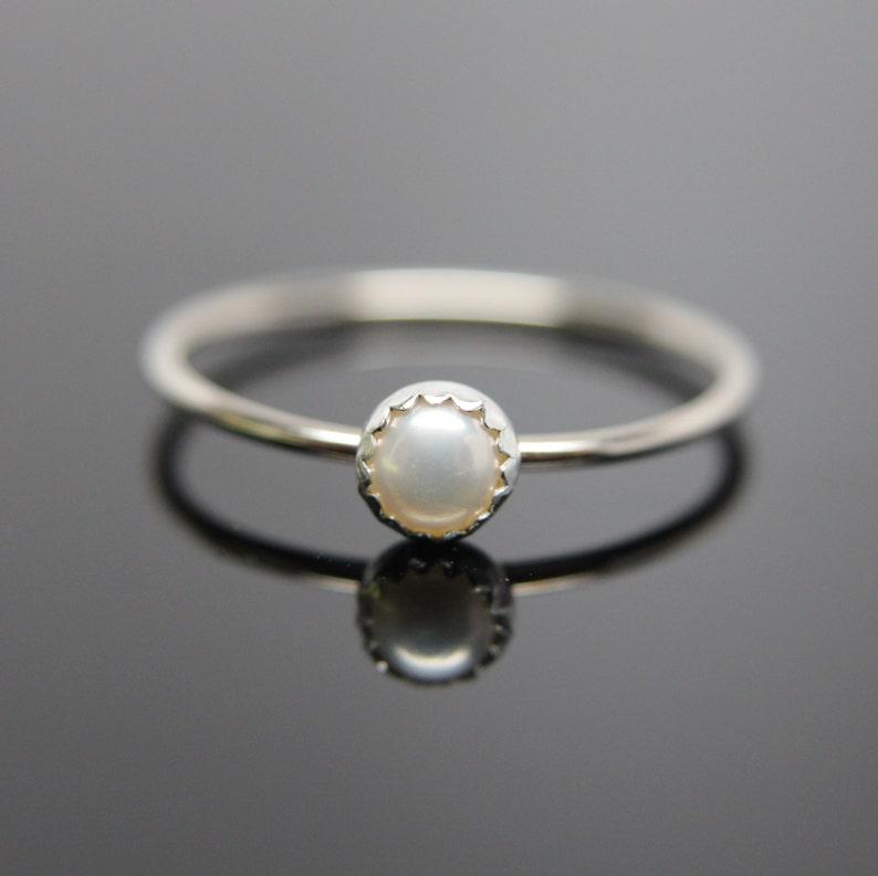 Choose your Gemstone. One 14k white gold gemstone stacking image 0