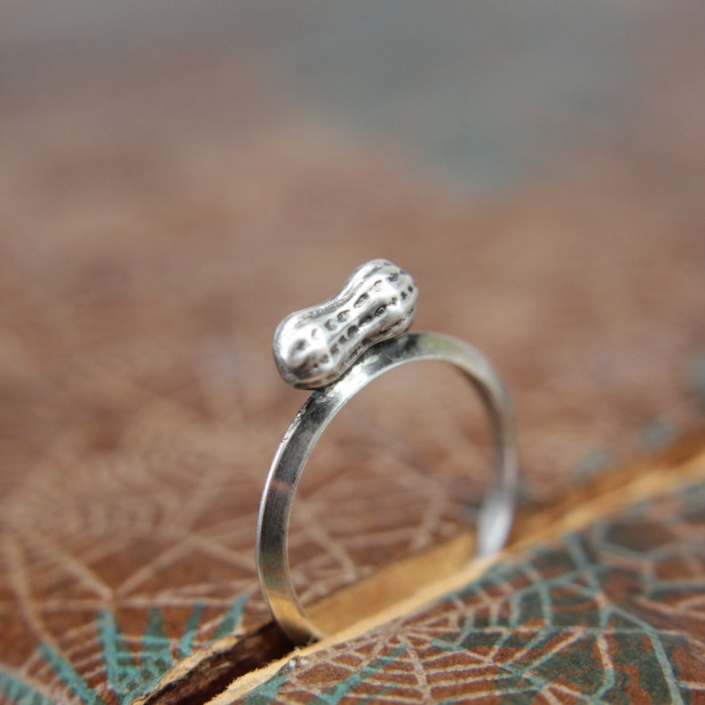 The Tiniest Peanut Mommy Ring. Sterling silver peanut stacking image 0