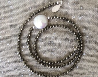 Pyrite Beaded Strand with Coin Pearl