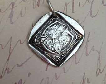 Pure Silver Wax Stamp Initial with Border