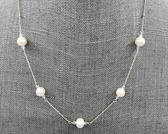Sterling and Pearl Station Necklace