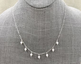 Sterling Silver Chain and Pearl Drop Nexklace