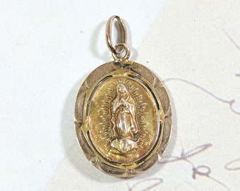 Saints Medal Vintage Virgin Mary and Jesus Gold Medal Pendant 10k Gold Religious Medal Pendant or Charm a bit Worn and Weathered Patinaed