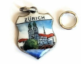 Zurich Switzerland Enamel Shield Charm Vintage Zurich Souvenir Sterling Silver 800 Grossmunster Zurich Switzerland Souvenir Charm