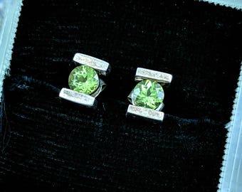 91df6c416 Sterling Silver Peridot Green Stud Earrings Peridot Stud Earrings Sterling  Silver 5 mm x 7 mm Stud Earrings Sparkling Green Framed in Silver