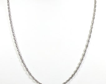 2e7aeade1cec Sterling Silver Necklace Chain 18 Inch Chain Loose Twist Rope Chain Diamond  Cut Accents 1.75mm Round Spring Ring Clasp 18 inch Rope SCH0002