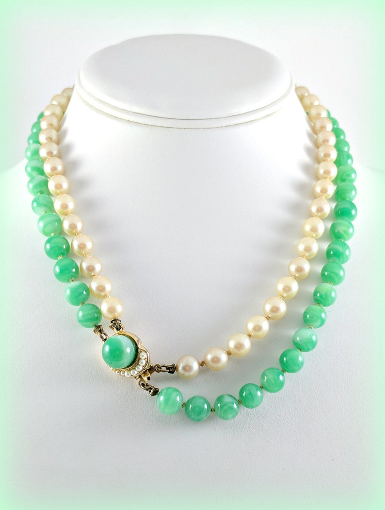 Box Clasp Faux Pearls Dramatic Statement Chunky Necklace Strung and Knotted Vintage Green Marbled Glass Beads Double Strand Necklace