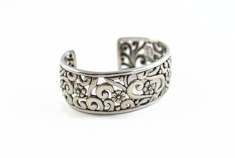 821c86d78d4 Carolyn Pollack Relios Sterling Silver Cuff Bracelet Wide   Etsy