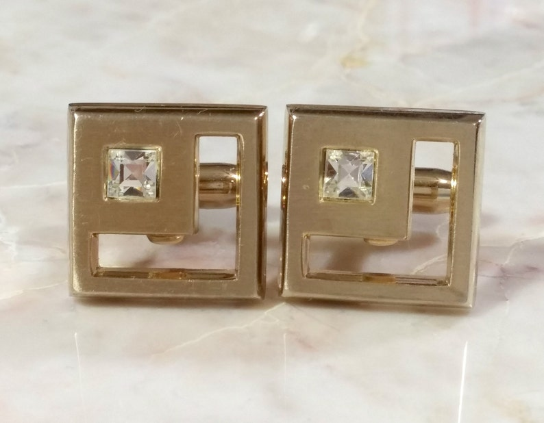 Hickok USA Cufflinks Unusual Geometric Cufflinks Vintage Brushed Gold Square Cufflinks Other Polygon Shaped Cufflinks